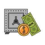 Strongbox with billet and coin isolated. Vector illustration stock illustration