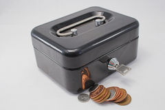 Strongbox and cash. A lockable strongbox and cash stock photography