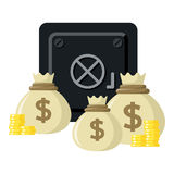 Strongbox with Sacks of Money Flat Icon Royalty Free Stock Images
