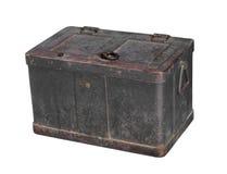 Strongbox velho do metal pesado isolado. Imagem de Stock