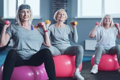 Active retired women during group exercise class. Stronger body and mental health. Selective focus on a smiling lady looking into the camera while lifting stock image