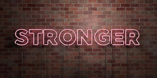 STRONGER - fluorescent Neon tube Sign on brickwork - Front view - 3D rendered royalty free stock picture. Can be used for online banner ads and direct mailers Stock Photos