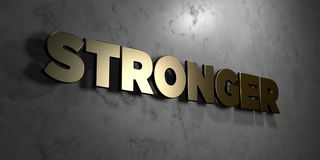 Stronger - Gold sign mounted on glossy marble wall  - 3D rendered royalty free stock illustration. This image can be used for an online website banner ad or a Royalty Free Stock Photos
