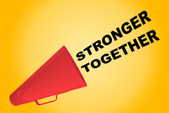 Stronger Together concept. 3D illustration of STRONGER TOGETHER title flowing from a loudspeaker Stock Photo