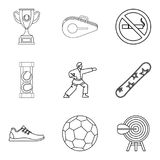 Strongest athlete icons set, outline style Stock Photos