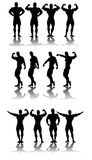 Strongest athletes. In different poses vector silhouettes Stock Photo