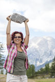 The strongest woman hiker royalty free stock images