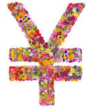 Strongest world currency  Yuan  sign isolated. Symbol of the second strongest world currency - China Yuan - made from flower, Isolated abstract collage Stock Photo