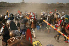 In the stronghold 5. The battle in the Middle Ages stronghold Stock Photography