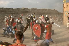 In the stronghold 7. The battle in the Middle Ages stronghold Stock Photography