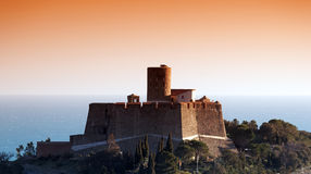 Stronghold in Collioure harbor coast Stock Image