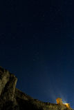 Stronghold of genoese and cliff on night sky Crimea, Sudak Royalty Free Stock Image