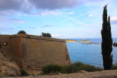 Stronghold in ibiza city Royalty Free Stock Images