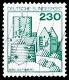 Stronghold Lichtenberg, Strongholds and Castles serie, circa 1978. MOSCOW, RUSSIA - MARCH 30, 2019: A stamp printed in Germany shows Stronghold Lichtenberg royalty free stock photography