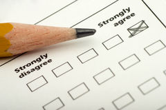 Strongly agree. Checklist, questionnaire with strongly agree checked off Royalty Free Stock Photo