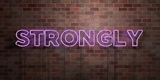 STRONGLY - fluorescent Neon tube Sign on brickwork - Front view - 3D rendered royalty free stock picture. Can be used for online banner ads and direct mailers vector illustration