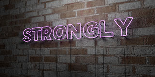 STRONGLY - Glowing Neon Sign on stonework wall - 3D rendered royalty free stock illustration. Can be used for online banner ads and direct mailers stock illustration