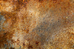 Strongly rusty metal plate stock image