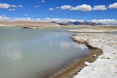 Strongly saline lake Ruldan Nak in Tibet, China stock photo
