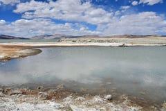 Strongly saline lake Ruldan Nak in Tibet, China stock photos