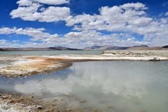 Strongly saline lake Ruldan Nak in Tibet, China royalty free stock photography