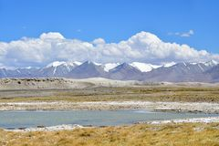 Strongly saline lake Ruldan Nak in Tibet, China stock image