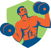 Strongman Crossfit Lifting Dumbbells Shield Retro Royalty Free Stock Photo