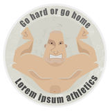 Strongman emblem. Go hard or go home, stone athletic emblem with huge, bold, bodybuilder torso Royalty Free Stock Images