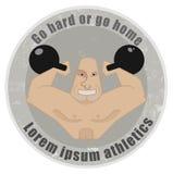 Strongman emblem. Stone athletic emblem with huge, bald strongman holding kettlebell Stock Photos