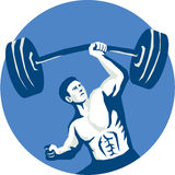 Strongman Lifting Barbell One Hand Stencil Stock Images