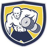 Strongman Lifting Dumbbells Front Shield Retro Royalty Free Stock Photo