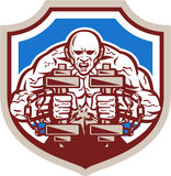 Strongman Lifting Dumbbells Shield Retro Royalty Free Stock Photography