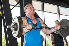 Strongman lifting weight at championship Royalty Free Stock Photos
