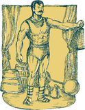 Strongman Lifting Weight Drawing Stock Images