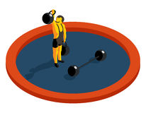 Strongman lifting weight. Flat 3d isometric vector Royalty Free Stock Image