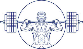Strongman Lifting Weight Mono Line. Mono line style illustration of a strongman lifting heavy weight barbell set inside circle viewed from front royalty free illustration