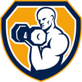 Strongman Pumping Dumbbells Shield Retro Royalty Free Stock Photos