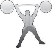 Strongman Shoulder Press. Shaded silhouette of a strong man lifting an old fashioned barbell over his head Royalty Free Stock Images