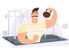 Strongman weight lifter holding weights in gym. Royalty Free Stock Image