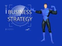 Strongmanen introducerar den starka illustrationen för affärsstrategi Arkivbild