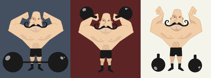 3 strongmans en diversas actitudes Fotos de archivo