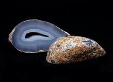 Stronniczo okrzesana błękit koronki agata geoda Obraz Royalty Free