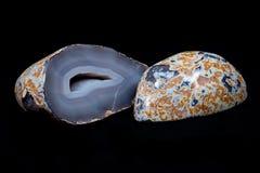 Stronniczo okrzesana błękit koronki agata geoda Zdjęcie Royalty Free