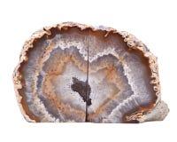 Stronniczo okrzesana multicolor agat geoda z crystaline druzy centrum elektrycznym grzejnym ochraniaczem Obrazy Stock