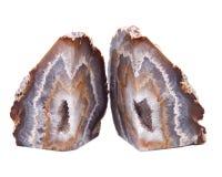 Stronniczo okrzesana multicolor agat geoda z crystaline druzy centrum elektrycznym grzejnym ochraniaczem Zdjęcia Stock