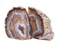 Stronniczo okrzesana multicolor agat geoda z crystaline druzy centrum elektrycznym grzejnym ochraniaczem Zdjęcie Stock