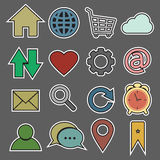 Strony internetowej i interneta majcheru ikona Fotografia Royalty Free