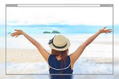 Strony internetowej strony projekta pojęcia plaży tło Obraz Stock
