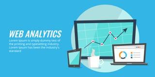 Strony internetowej raportowa analiza na cyfrowych przyrządach Sieci analityka, dane, ewidencyjny pojęcie ilustracja wektor
