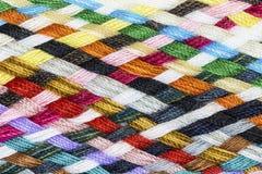 Strook geweven multicolored katoen Stock Foto
